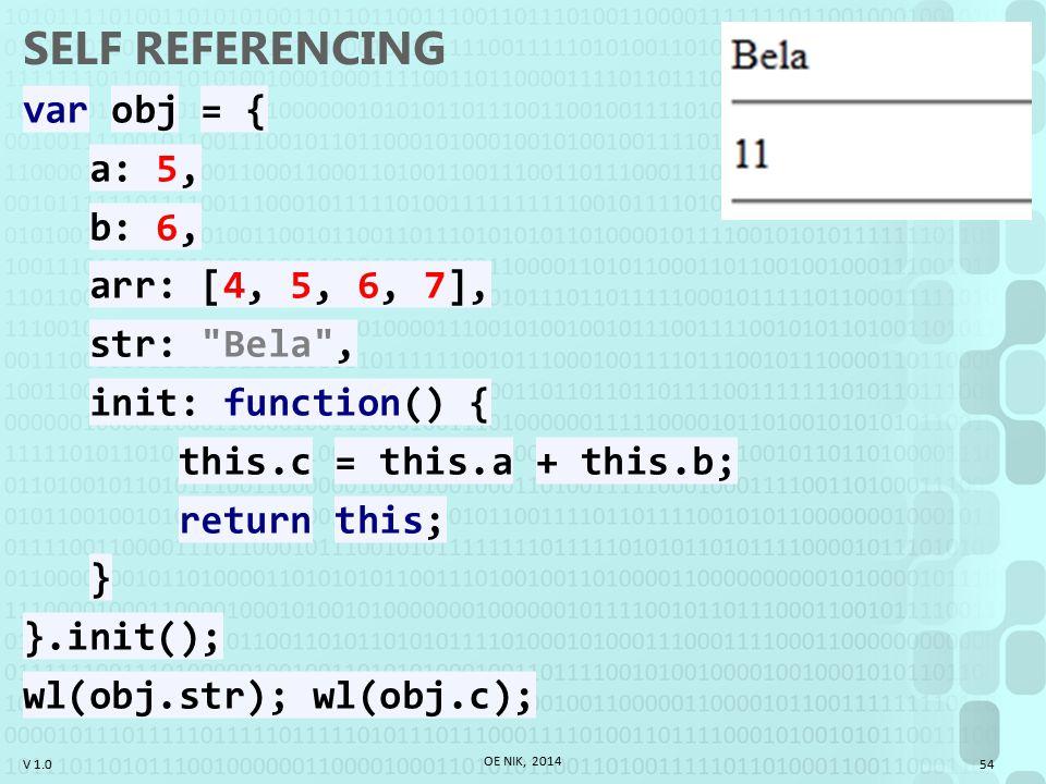 V 1.0 SELF REFERENCING var obj = { a: 5, b: 6, arr: [4, 5, 6, 7], str: Bela , init: function() { this.c = this.a + this.b; return this; } }.init(); wl(obj.str); wl(obj.c); OE NIK, 2014 54