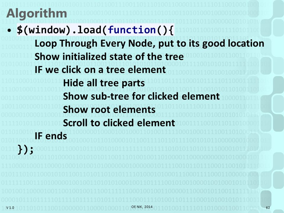 V 1.0 Algorithm $(window).load(function(){ Loop Through Every Node, put to its good location Show initialized state of the tree IF we click on a tree element Hide all tree parts Show sub-tree for clicked element Show root elements Scroll to clicked element IF ends }); OE NIK, 2014 62