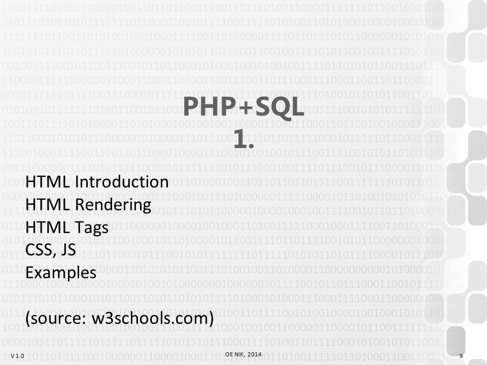 V 1.0 OE NIK, 2014 10 PHP+SQL 1. HTML Introduction HTML Rendering HTML Tags CSS, JS Examples
