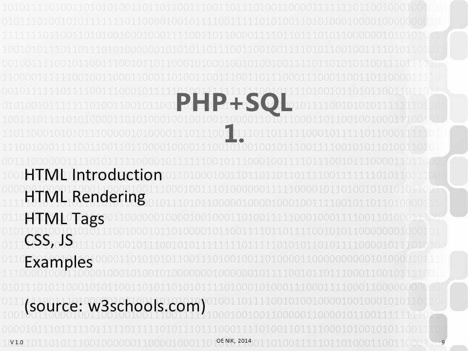V 1.0 OE NIK, 2014 9 PHP+SQL 1.