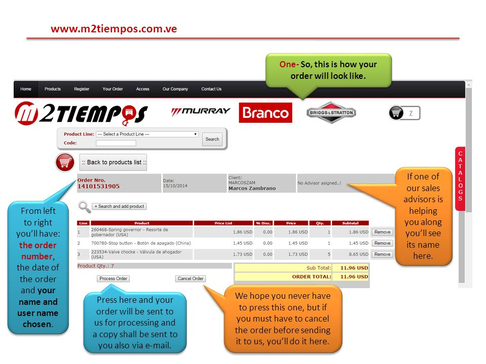 www.m2tiempos.com.ve One- So, this is how your order will look like.