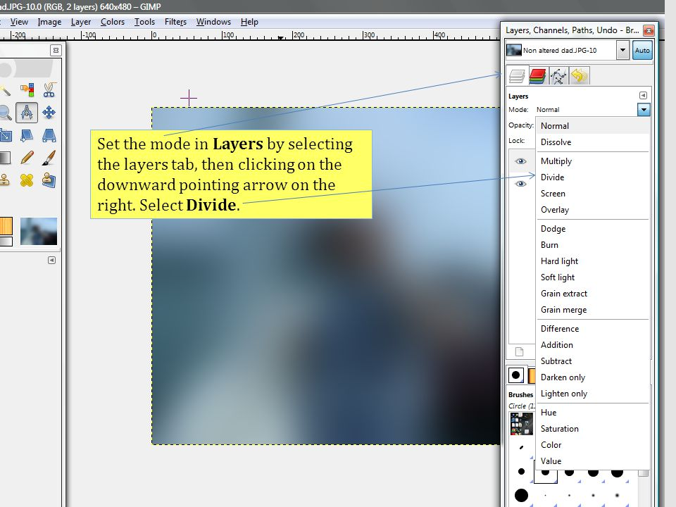Set the mode in Layers by selecting the layers tab, then clicking on the downward pointing arrow on the right.