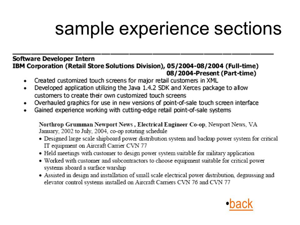 sample experience sections back