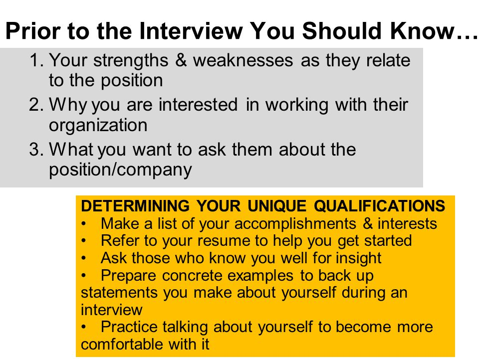 1.Your strengths & weaknesses as they relate to the position 2.Why you are interested in working with their organization 3.What you want to ask them a
