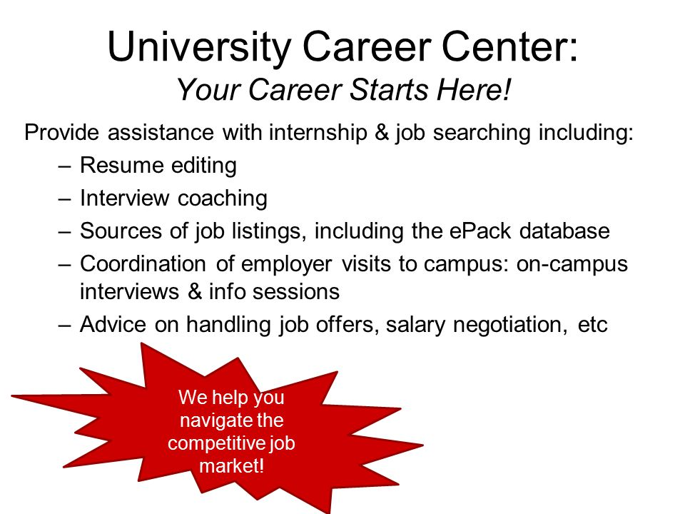 University Career Center: Your Career Starts Here! Provide assistance with internship & job searching including: –Resume editing –Interview coaching –