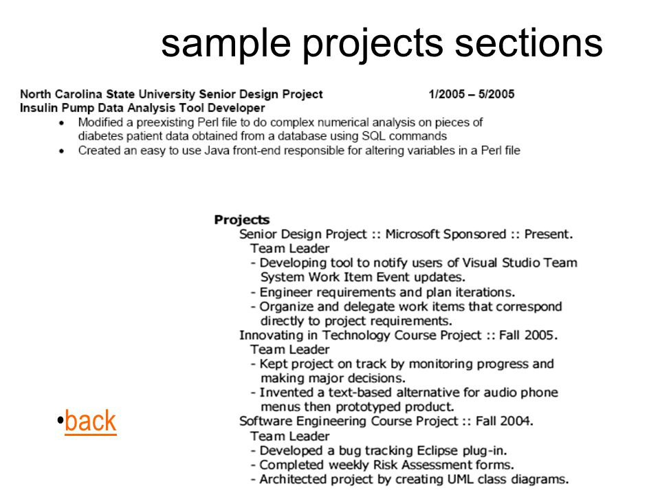 sample projects sections back