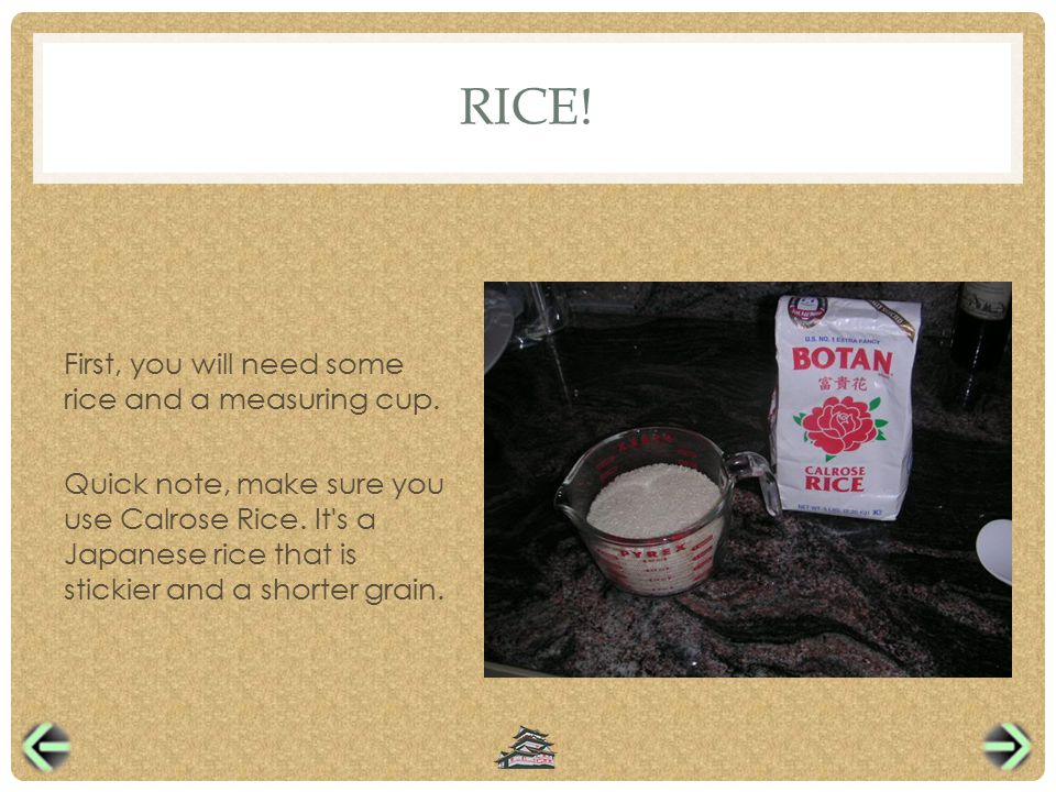 RICE. First, you will need some rice and a measuring cup.