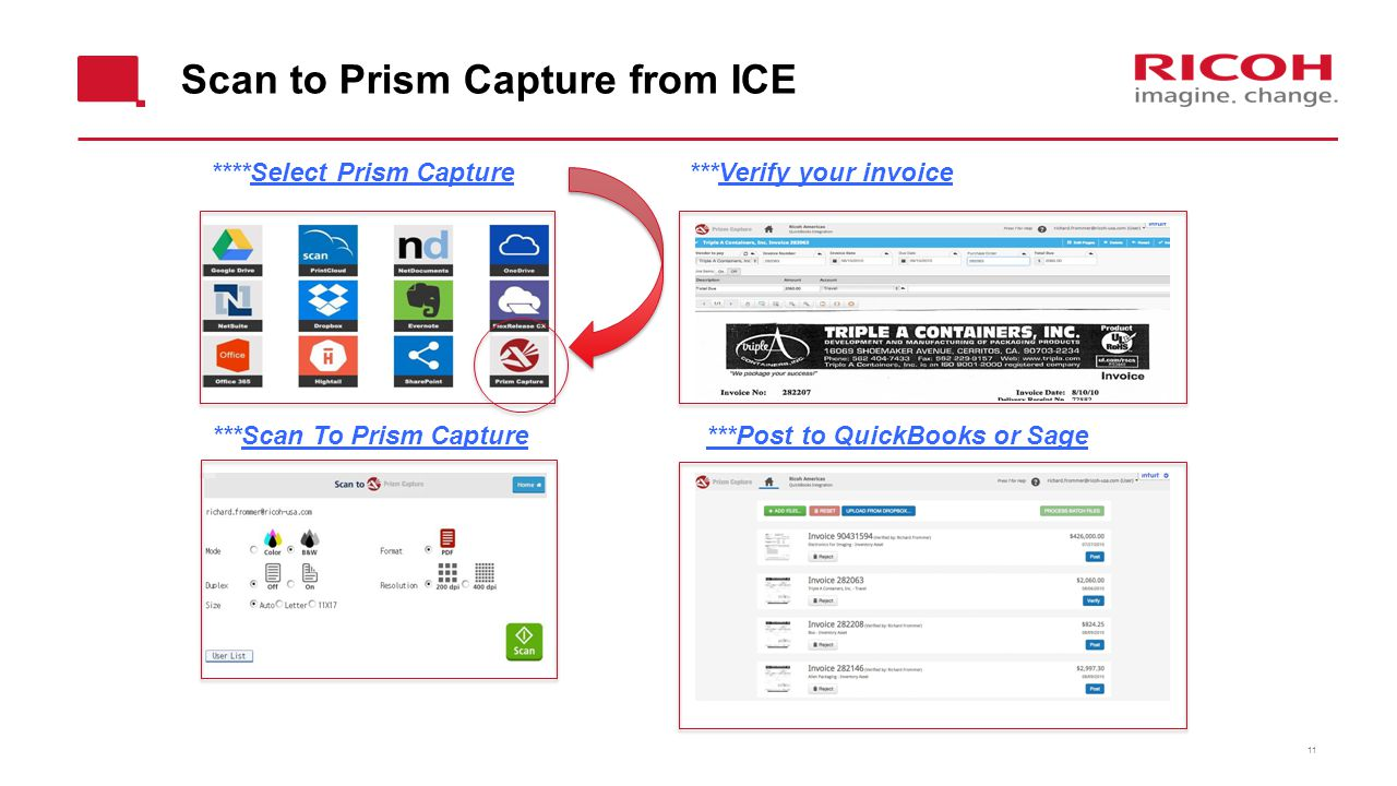 Scan to Prism Capture from ICE 11 ****Select Prism Capture ***Scan To Prism Capture ***Verify your invoice ***Post to QuickBooks or Sage