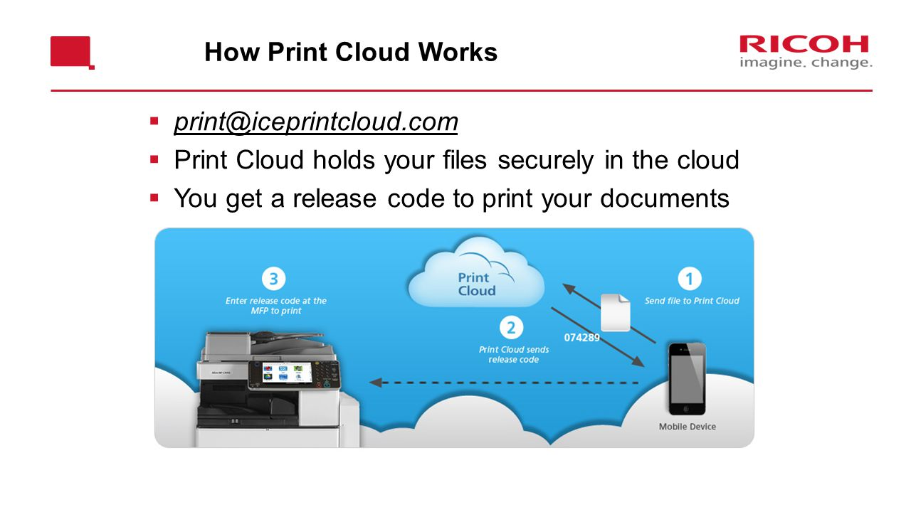 How Print Cloud Works  print@iceprintcloud.com  Print Cloud holds your files securely in the cloud  You get a release code to print your documents Use workflow from Print Cloud 1 page product brief