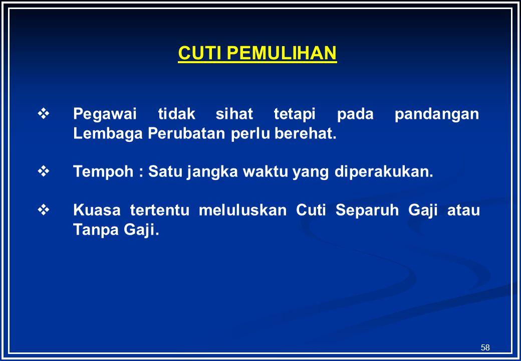 57 Sakit Semasa Cuti Separuh Gaji/Tanpa Gaji  Tidak berkelayakkan Cuti Sakit.  Kelonggaran Bercuti di luar Malaysia dan tidak dapat balik kerana sak