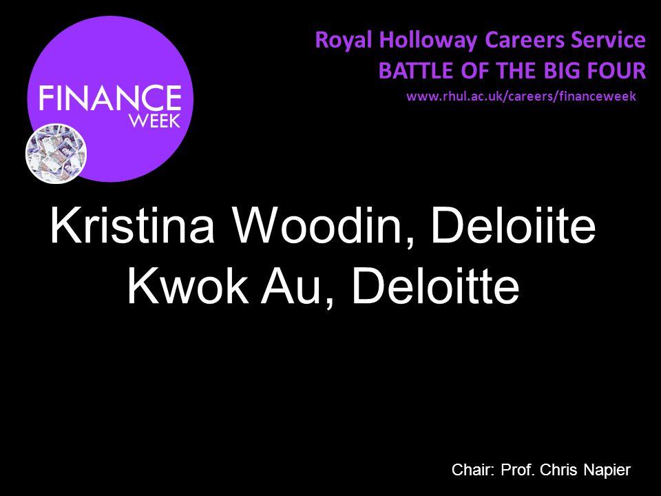 Royal Holloway Careers Service BATTLE OF THE BIG FOUR Kristina Woodin, Deloiite Kwok Au, Deloitte www.rhul.ac.uk/careers/financeweek Chair: Prof.