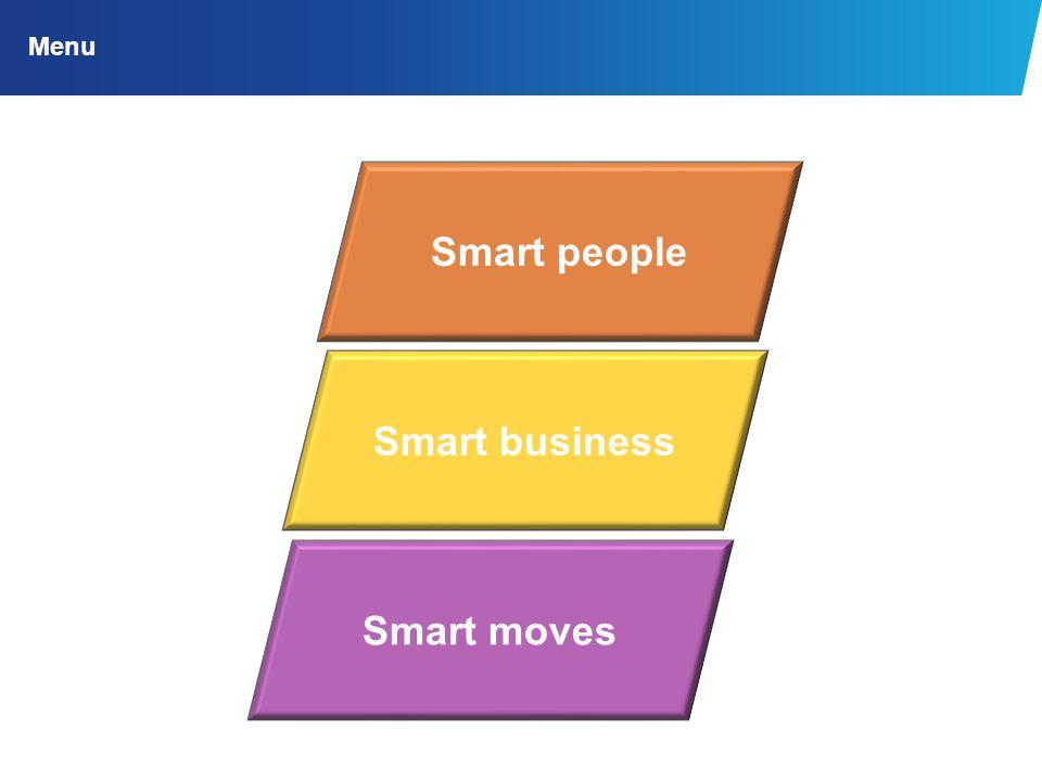 Menu Smart people Smart business Smart moves