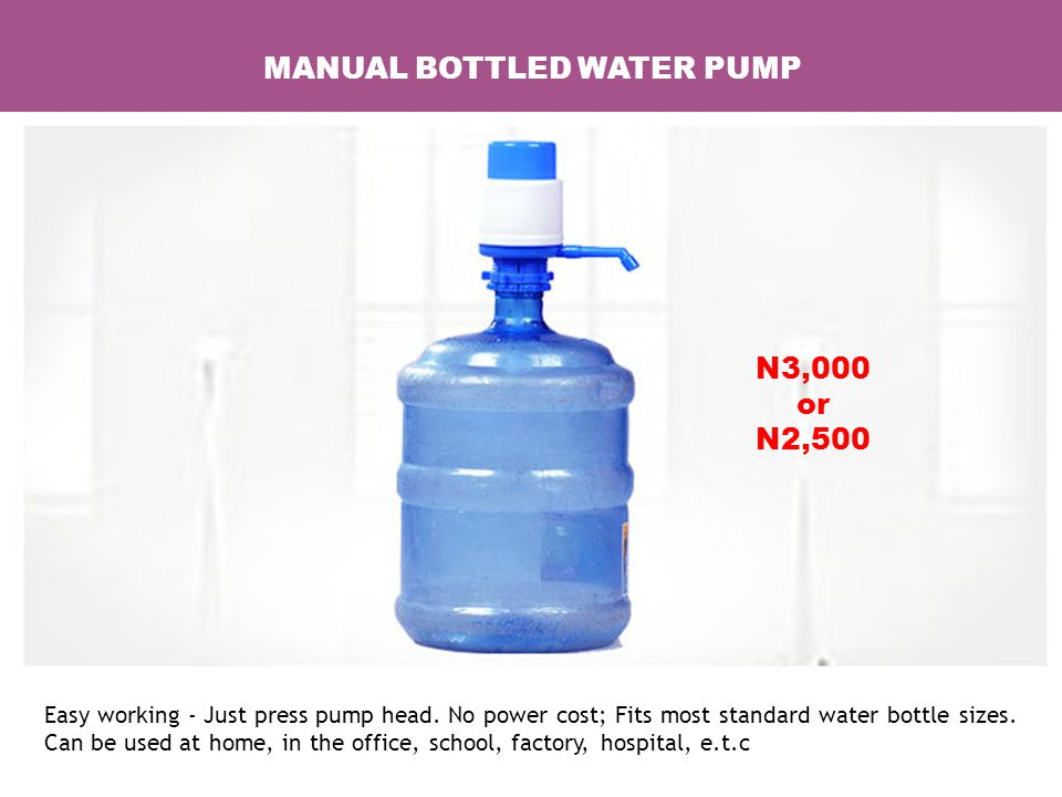 MANUAL BOTTLED WATER PUMP Easy working - Just press pump head.