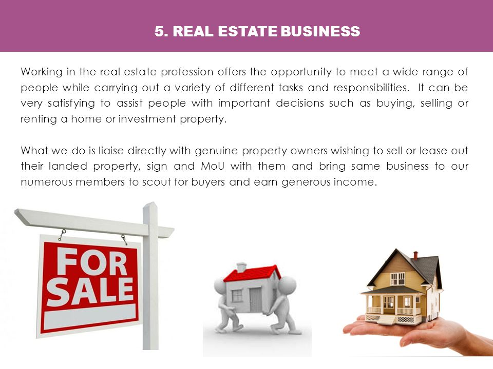 Working in the real estate profession offers the opportunity to meet a wide range of people while carrying out a variety of different tasks and responsibilities.