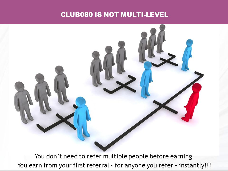 CLUB080 IS NOT MULTI-LEVEL You don't need to refer multiple people before earning.