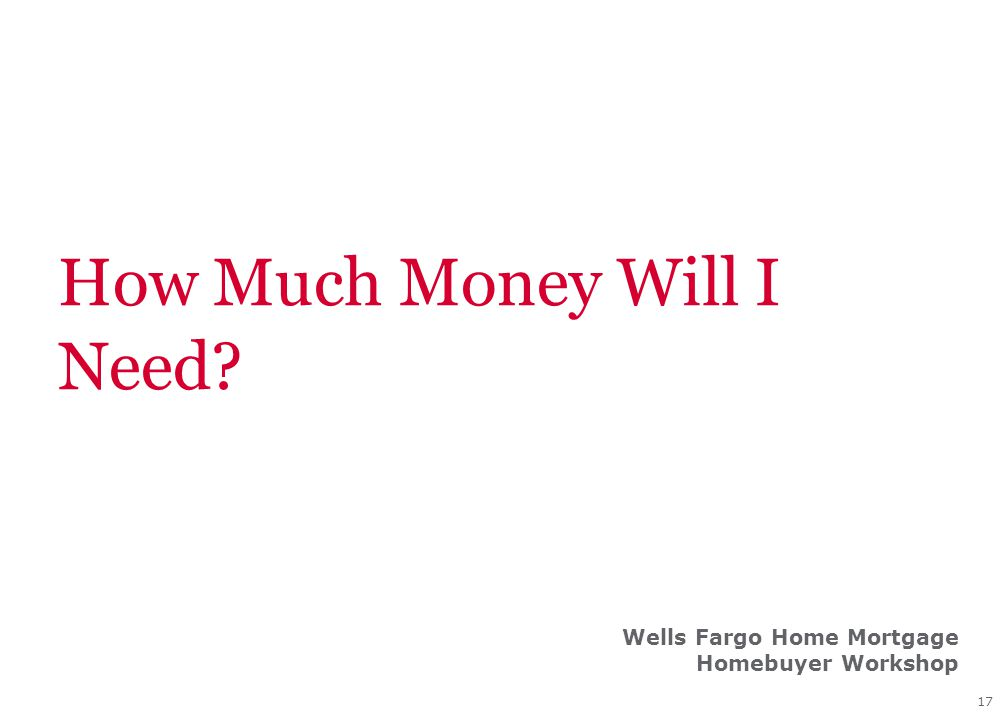 17 How Much Money Will I Need? Wells Fargo Home Mortgage Homebuyer Workshop