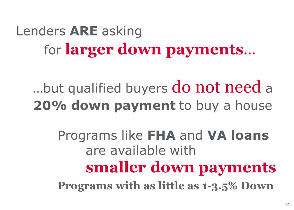 19 Lenders ARE asking for larger down payments… …but qualified buyers do not need a 20% down payment to buy a house Programs like FHA and VA loans are available with smaller down payments Programs with as little as 1-3.5% Down