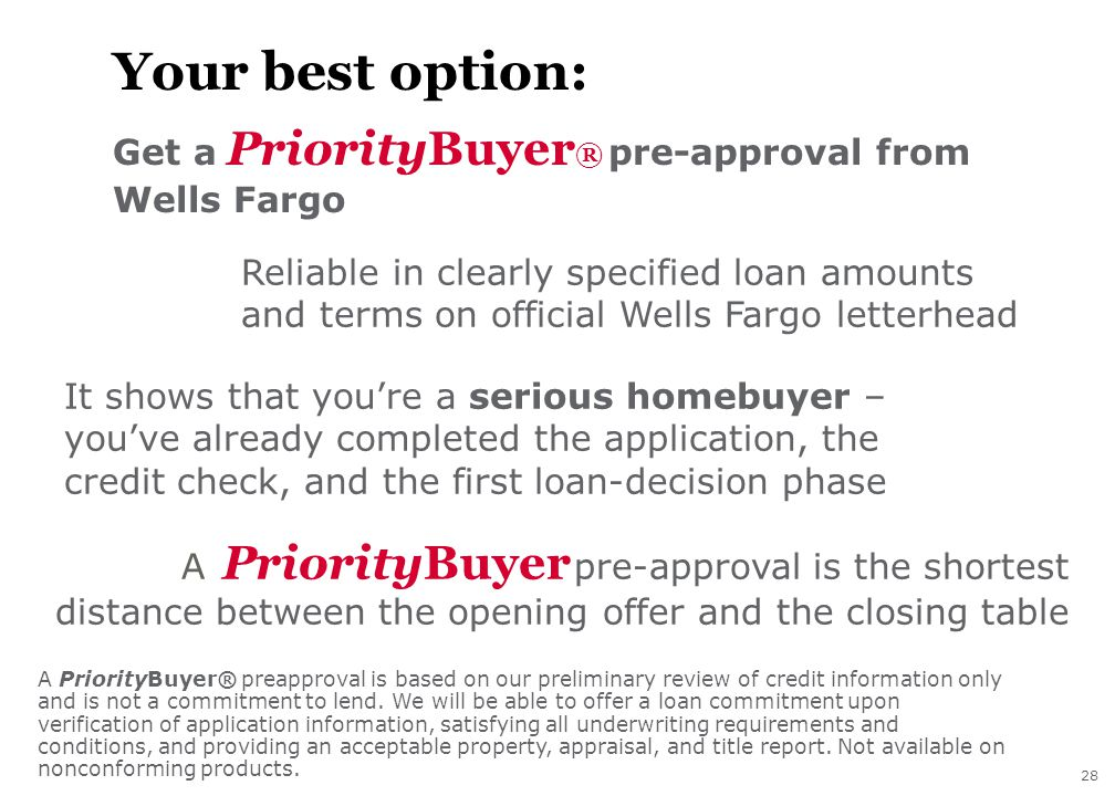 28 Your best option: Get a PriorityBuyer ® pre-approval from Wells Fargo Reliable in clearly specified loan amounts and terms on official Wells Fargo