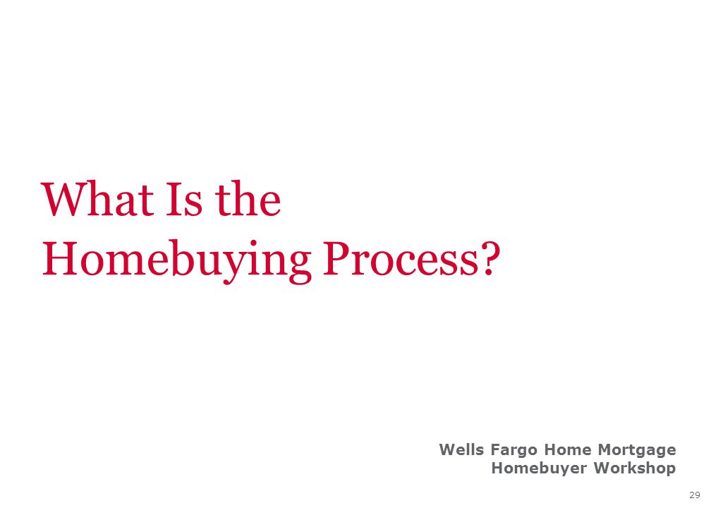 29 What Is the Homebuying Process? Wells Fargo Home Mortgage Homebuyer Workshop