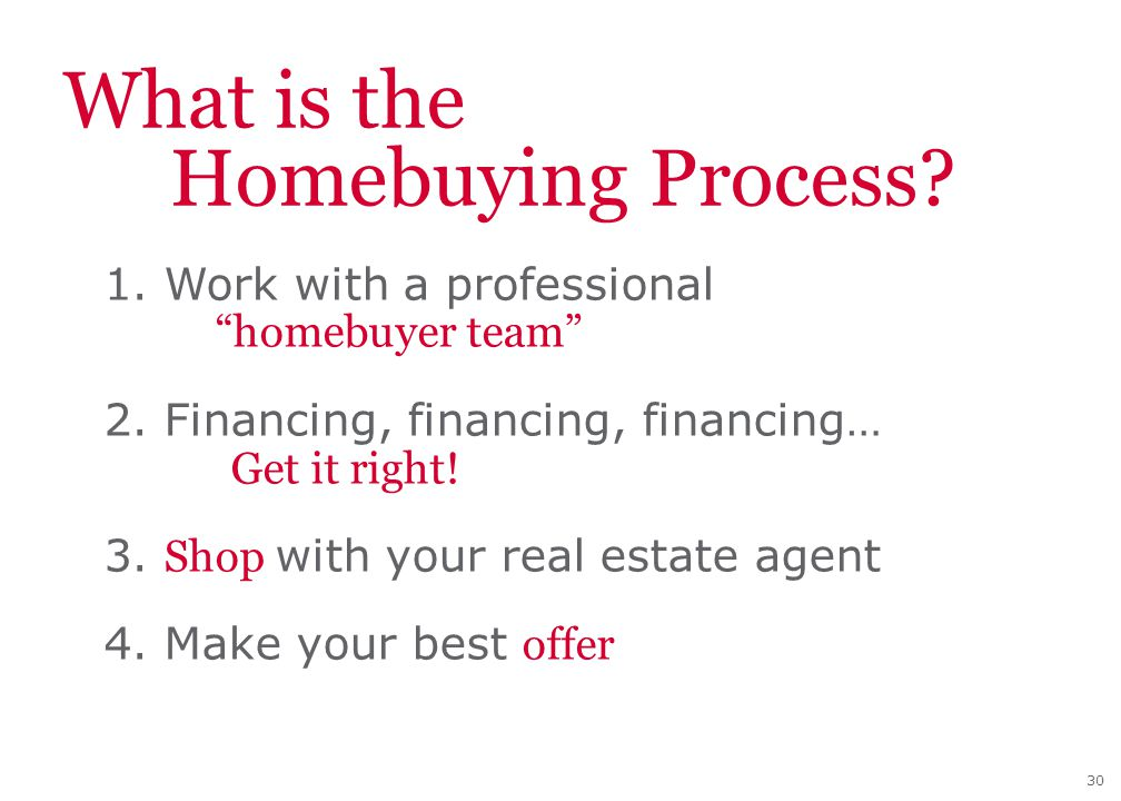"30 What is the Homebuying Process? 1. Work with a professional ""homebuyer team"" 2. Financing, financing, financing… Get it right! 3. Shop with your re"