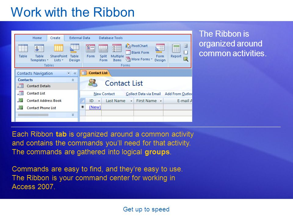 Get up to speed Work with the Ribbon The Ribbon is organized around common activities.