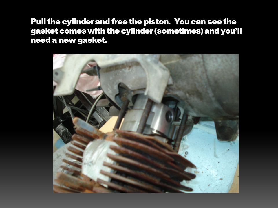 Pull the cylinder and free the piston. You can see the gasket comes with the cylinder (sometimes) and you'll need a new gasket.