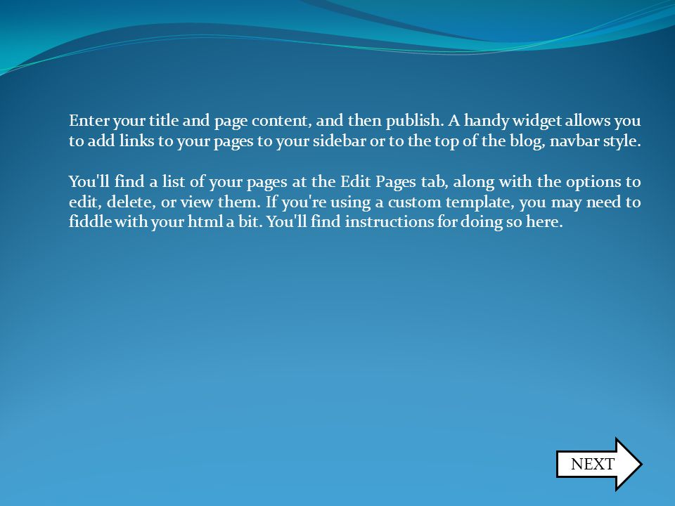 Enter your title and page content, and then publish.