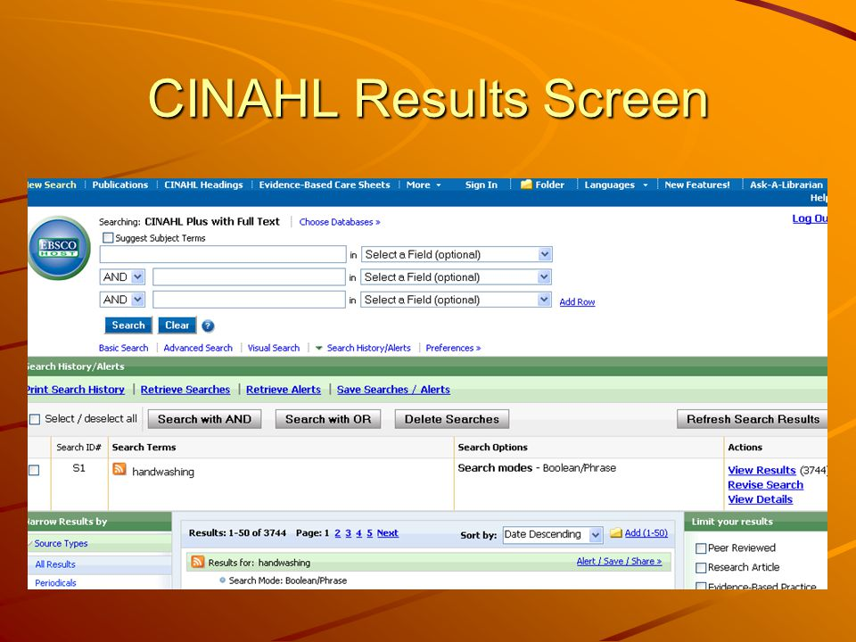 CINAHL Results Screen