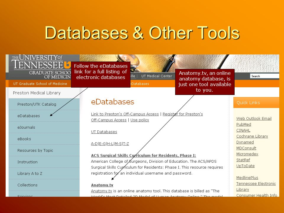Databases & Other Tools Follow the eDatabases link for a full listing of electronic databases Anatomy.tv, an online anatomy database, is just one tool available to you.