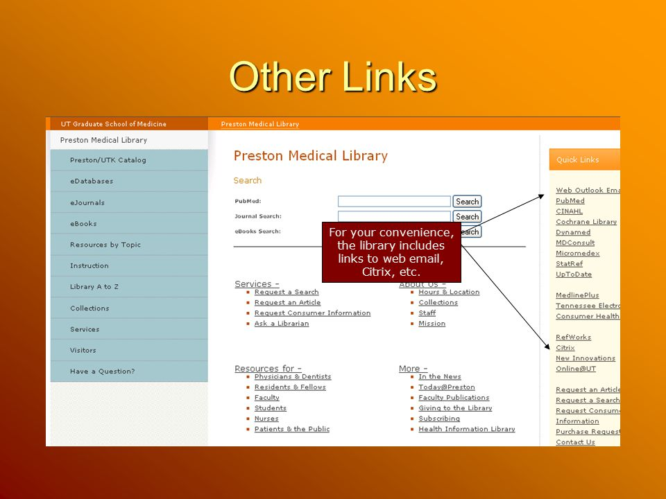 Other Links For your convenience, the library includes links to web email, Citrix, etc.