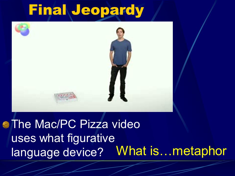Final Jeopardy What is…metaphor The Mac/PC Pizza video uses what figurative language device?