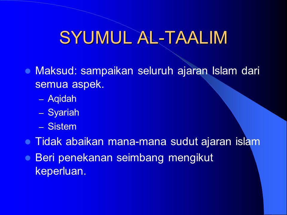 SYUMUL AL-TAALIM Maksud: sampaikan seluruh ajaran Islam dari semua aspek.