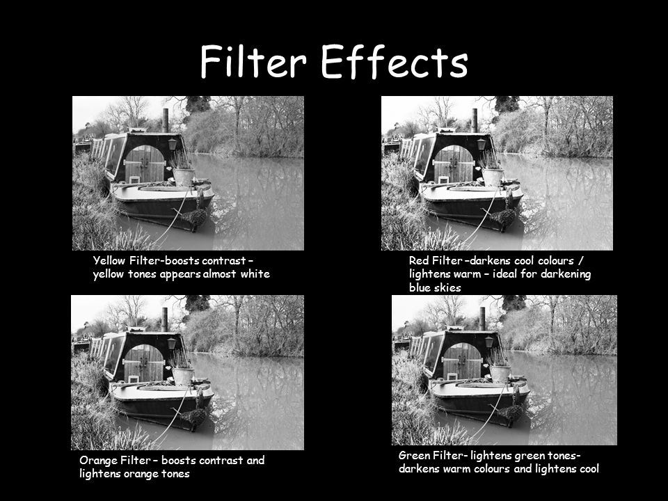 Filter Effects Yellow Filter-boosts contrast – yellow tones appears almost white Red Filter –darkens cool colours / lightens warm – ideal for darkening blue skies Orange Filter – boosts contrast and lightens orange tones Green Filter- lightens green tones- darkens warm colours and lightens cool