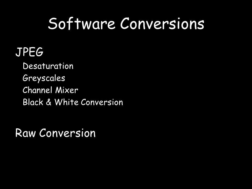 Software Conversions JPEG Desaturation Greyscales Channel Mixer Black & White Conversion Raw Conversion