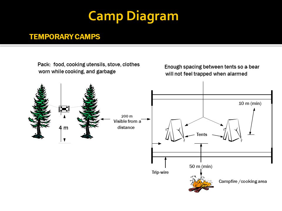Campfire /cooking area Trip-wire Tents Enough spacing between tents so a bear will not feel trapped when alarmed. 50 m (min) 10 m (min) TEMPORARY CAMP