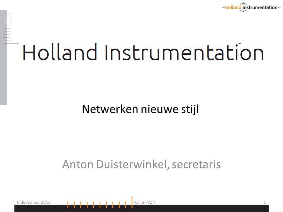Netwerken nieuwe stijl Anton Duisterwinkel, secretaris 6 december 2013. VZHG - PZH1