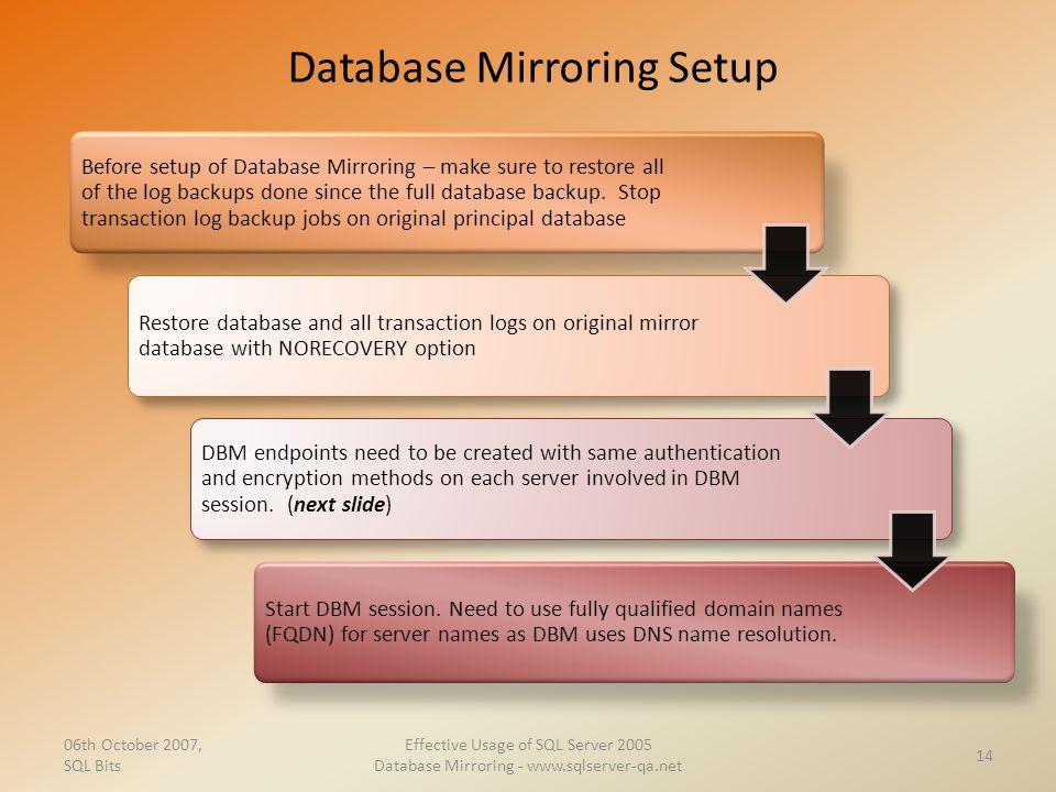 Database Mirroring Setup 06th October 2007, SQL Bits Effective Usage of SQL Server 2005 Database Mirroring - www.sqlserver-qa.net 14