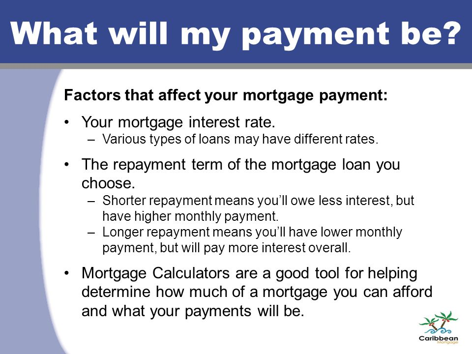 What will my payment be. Factors that affect your mortgage payment: Your mortgage interest rate.