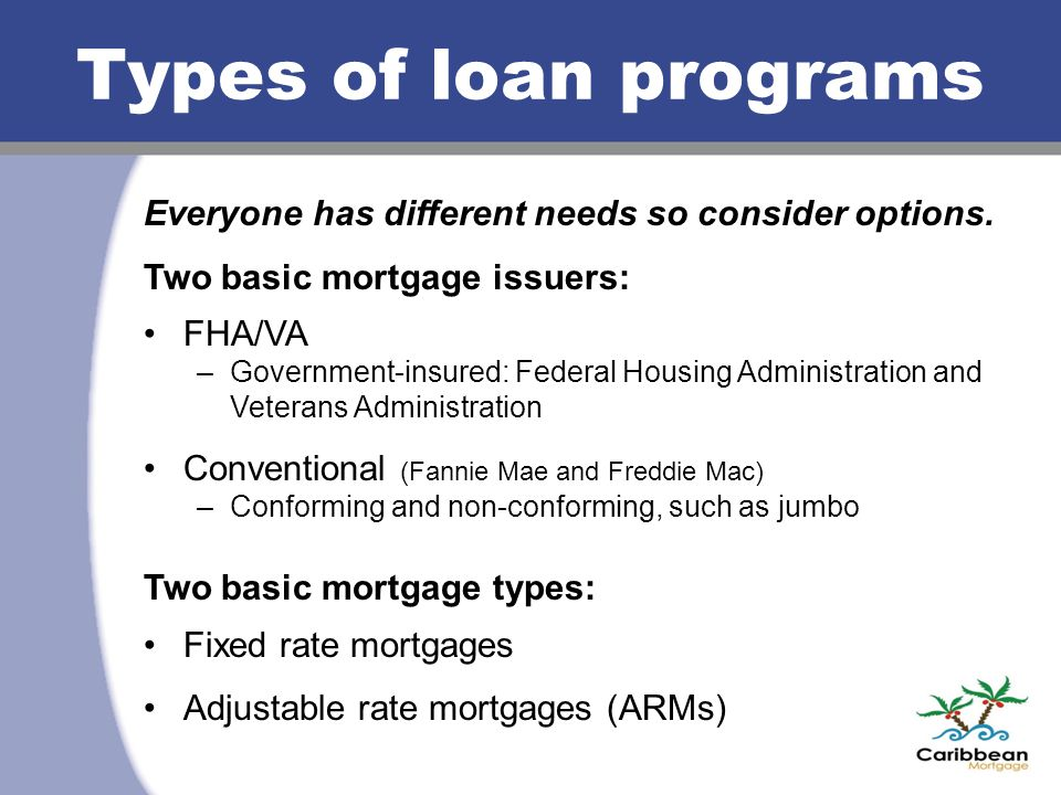 Types of loan programs Everyone has different needs so consider options. Two basic mortgage issuers: FHA/VA –Government-insured: Federal Housing Admin