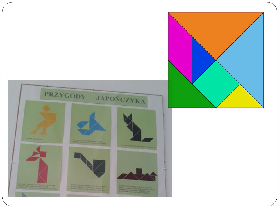 """Tangram A tangram is a Chinese puzzle consisting of 7 shapes (or """"tans""""): Two large right triangles One medium sized right triangle Two small right tr"""