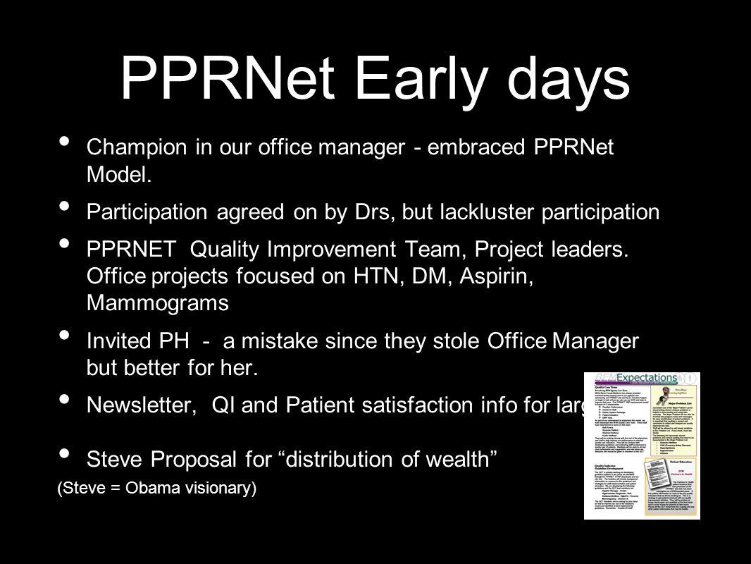 Fertilizing BCFM with PPRNet - TRIP Model Prioritize Performance Involve All Staff Delivery System Redesign Patient Activation Population-based Medicine EMR Tools