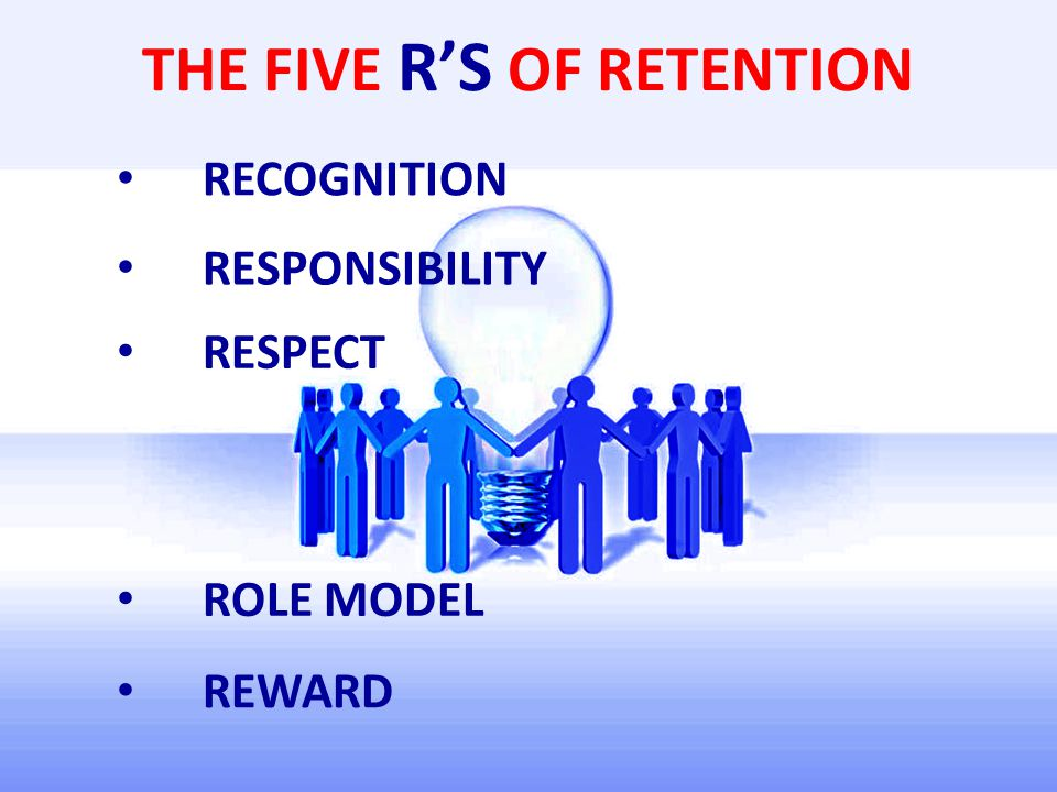 THE FIVE R'S OF RETENTION RECOGNITION RESPONSIBILITY RESPECT ROLE MODEL REWARD