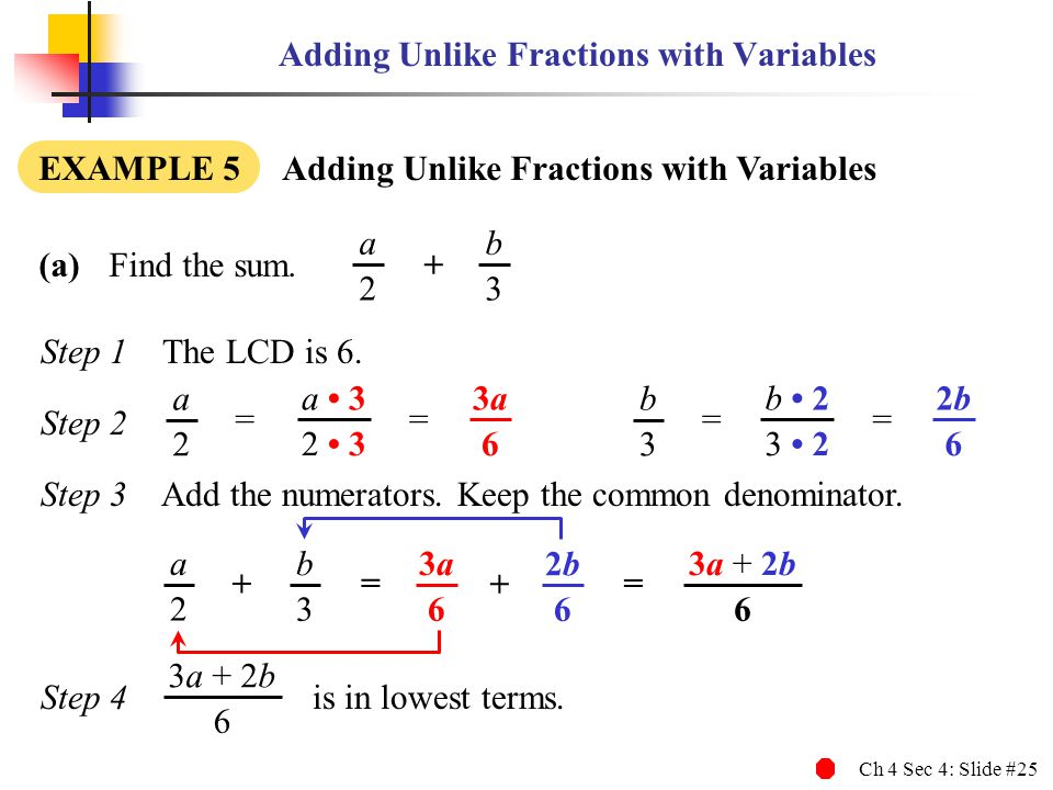 Ch 4 Sec 4: Slide #25 3a + 2b 6 Step 1 The LCD is 6. Step 2 Step 3 Add the numerators. Keep the common denominator. Step 4 is in lowest terms. Adding