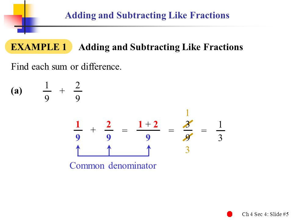 Ch 4 Sec 4: Slide #5 3 1 Adding and Subtracting Like Fractions Find each sum or difference. EXAMPLE 1 Adding and Subtracting Like Fractions Common den
