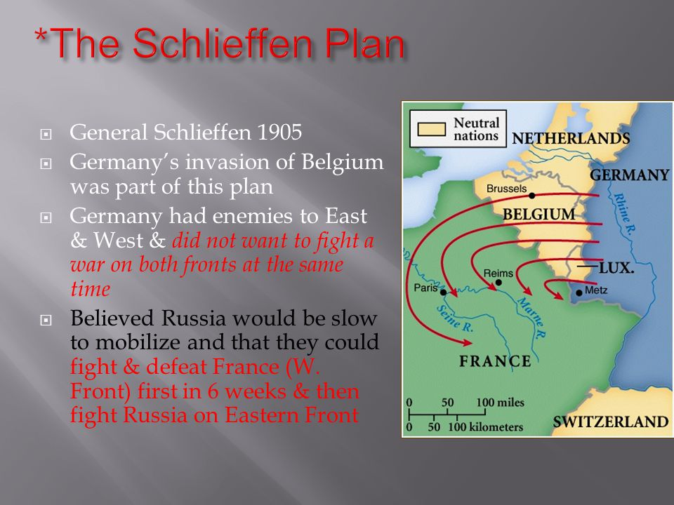  General Schlieffen 1905  Germany's invasion of Belgium was part of this plan  Germany had enemies to East & West & did not want to fight a war on both fronts at the same time  Believed Russia would be slow to mobilize and that they could fight & defeat France (W.