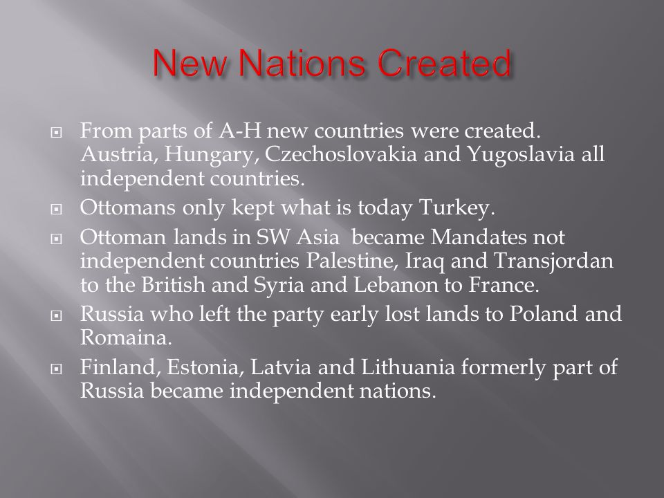  From parts of A-H new countries were created.