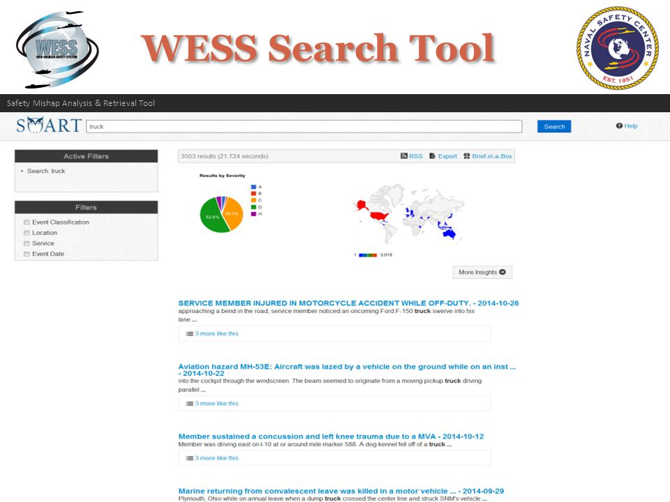 WESS Search Tool Search for mishap data using the rich ad-hoc search capabilities of SMART.