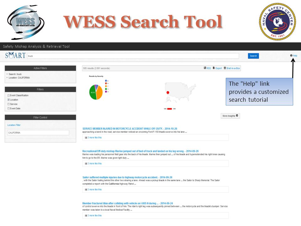 The Help link provides a customized search tutorial Safety Mishap Analysis & Retrieval Tool