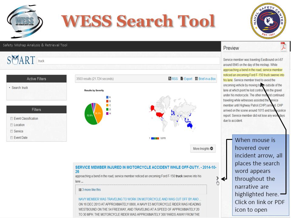 The Brief-in-a-Box link creates a customizable PowerPoint brief from the search results Safety Mishap Analysis & Retrieval Tool