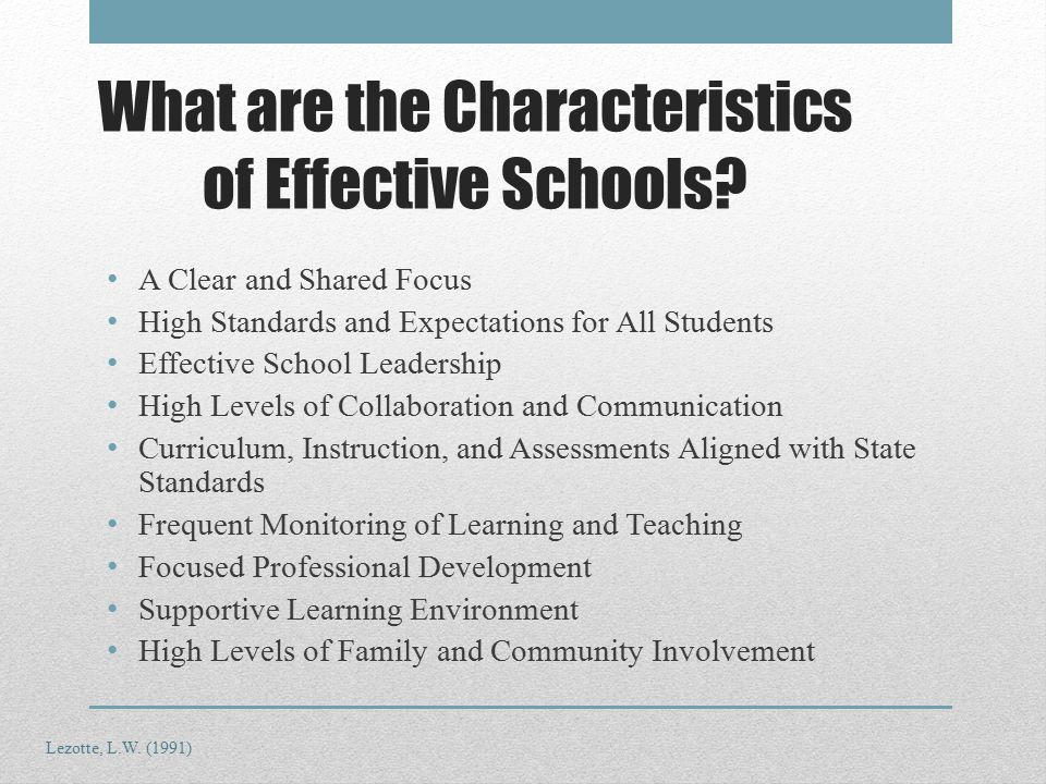 What are the Characteristics of Effective Schools.